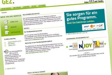Homepage der GEZ