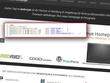 PHP Code für Homepage-Begrüßung