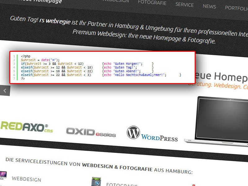 php code fr homepage begrung - Rede Begrung Beispiel