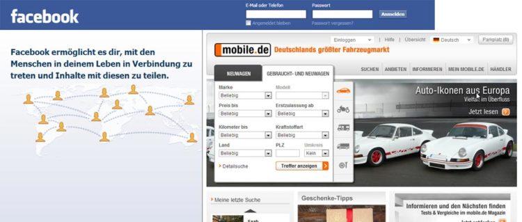 Facebook & mobile.de Screenshot