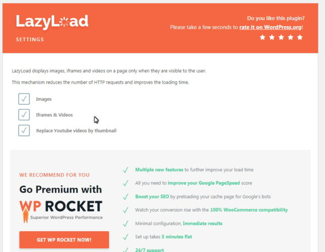 Wordpress Lazy Load by Rocket