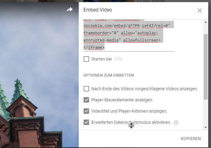 Youtube Video Code anpassen